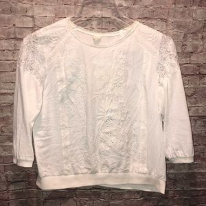 Anthropologie | white embroidered top by Tiny MED